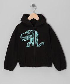 {Black Dinosaur Zip-Up Hoodie - Toddler  Boys by Urban Smalls}