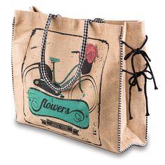 Mona B Handbag Vintage Flower Bike Burlap Tote Gucci Shoulder Bag, Leather Shoulder Bag, Trendy Online Boutiques, Burlap Tote, Burlap Projects, Canvas Handbags, Jute Bags, Market Bag, Vintage Handbags