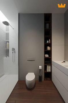 Strak lijnenspel met handige opbergruimte naast het toilet - www.witzand.nl