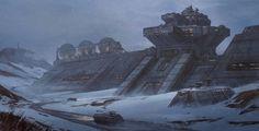 ArtStation - Approaching the Facility, Kevin Jick Alien Concept Art, Star Wars Concept Art, Futuristic City, Futuristic Architecture, Environment Concept Art, Environment Design, Sci Fi City, Alien Planet, Star Wars Rpg