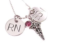 Personalized Nurse Necklace  RN BSN  Hand Stamped by Stampressions, $28.00