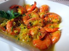 Portuguese style Shrimp - Cook the shrimp in one pot, make the spicy sauce in another. Put the cokked shrimp in the spicey sauce YUM.