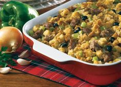 Italian Sausage Stuffing... Italian Sausage, Parmesan cheese and black olives make this a one-of-a-kind taste.