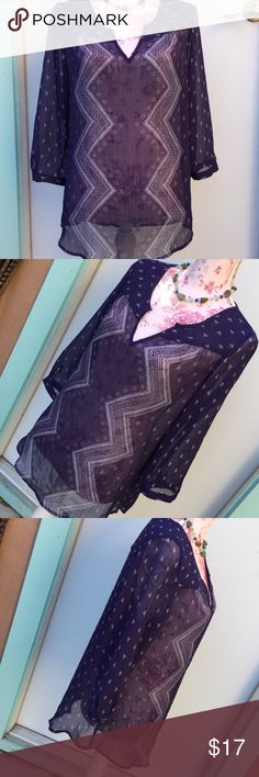 """Maurice's BoHo Sheer 3/4 sleeve, button cuff Navy blue & white EUC 27"""" long, 21"""" pit to pit Maurices Tops Blouses"""