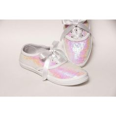Tiny Sequin Cvo Crystal White Iris Sneakers Tennis Shoes With Satin... ($50) ❤ liked on Polyvore featuring shoes, sneakers, silver, sneakers & athletic shoes, tie sneakers, women's shoes, white canvas sneakers, lightweight tennis shoes, tennis sneakers and sequin tennis shoes