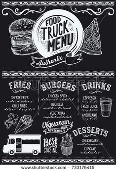 Fast Food Chalkboard Design Set Stock Vector (Royalty Free) 183698507 Food truck menu for street festival. Design template with hand-drawn graphic illustrations. Menu Board Design, Food Menu Design, Food Truck Design, Food Trucks, Food Truck Menu, Food Truck Festival, Menu Burger, Foodtrucks Ideas, Beste Brownies