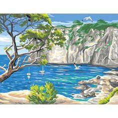 Les calanques canevas - Rafael Angelot Summer Art, Tuscany, Beautiful Pictures, Painting, Inspiration, Color, Boats, Artworks, Number