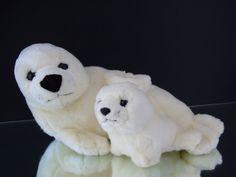 "White Seal w Baby Seal Leosco Collection  Plush Toy 14"" Stuffed Animal Plushie #LeoscoCollection"
