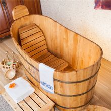 Indoor freestanding 1 person hot tub small cedar bath tub bathing massage whirlpool used bathtub