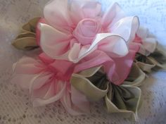 French Ombre Vintage Style Millinery Ribbonwork Flower Pin, Corsage,Cluster