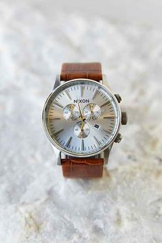 Nixon Sentry Chrono Leather Watch - Urban Outfitters