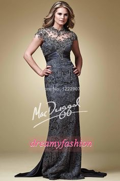 Gorgeous Custom made Grey Plus Size Mather of the bride Lace Dresses With Sheer Illusion Neck Beaded Applique Long Prom Dress $149.00