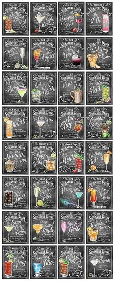Personalized Signature Drinks signs - Perfect for your wedding cocktail hour… Mojito, Wedding Signs, Diy Wedding, Wedding Parties, Rustic Wedding, Wedding Signature Drinks, Trendy Wedding, Wedding Themed Cocktails, Camp Wedding