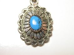 Sterling Silver Turquoise Pendant Necklace  by WatchandWares