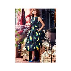 Eva Mendes Collection - Felicity Dress - Lemon Print - Petite ($85) ❤ liked on Polyvore featuring dresses, petite midi dresses, calf length dresses, pocket dress, full midi skirt and pleated midi dress
