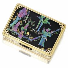 18 KARAT GOLD, LACQUER, MOTHER-OF-PEARL, ENAMEL AND GEM-SET CHINOISERIE VANITY CASE, CARTIER, PARIS, CIRCA 1927