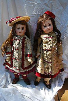 Сестра э.д. Jumeau антикварные куклы размер 9 и 10-идеальное состояние