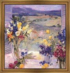 Tuscany Floral by Allayn Stevens Framed Art Print Wall Picture, Wide Gold Frame, 30 x 30 inches  Consider decorating with purple accents if you love the look of purple home decor. It does not matter if you like violet, lavender, lilac, amethyst or more of a muave purple. Rest assured you will find your perfectly purple paradise.   I love the look of purple modern wall art, purple accent pillows and trendy purple decorative accents to spread all over my home.  This works well with my ultra mo