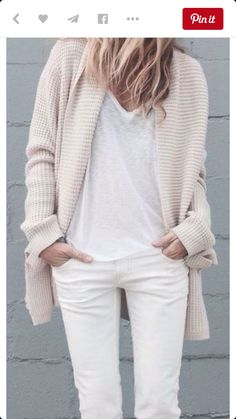 I love this all white and beige laid back look summer nights look. The fitted silhouette with the chunky soft sweater