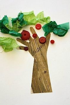 handprint apple tree craft with tissue paper and buttons