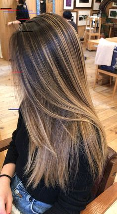 Gorgeous Hair Color Idea That Will inspire You, Hair highlights for brown ha. Gorgeous Hair Color Idea That Will inspire You, Hair highlights for brown ha. Brown Hair With Blonde Highlights, Brown Hair Balayage, Balayage Highlights, Hair Color Balayage, Balayage Straight, Carmel Brown Hair, Thick Highlights, Balyage Long Hair, Asian Balayage
