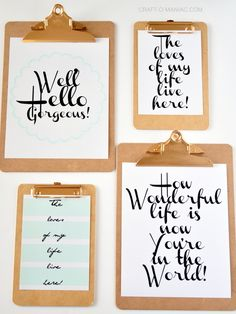 Printable Clipboard Gallery Wall- with FREE Printables! #gallerywalls #freeprintables