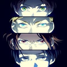 Zoë Hange, Rivaille (Levi), Eren Jaeger and Erwin Smith