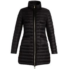 Moncler Bogue quilted down coat (€675) ❤ liked on Polyvore featuring outerwear, coats, black, funnel neck coat, padded coat, down feather coat, feather coat and quilted coat