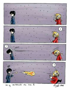 Mustang, Edward, snowball fight, funny, comic, fire; Fullmetal Alchemist
