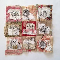Your marketplace to buy and sell handmade items. Textile Art Piece Flowers by t. Your marketplace to buy and sell handmade items. Textile Art Piece Flowers by tinajensenArt on Ets Free Motion Embroidery, Embroidery Art, Embroidery Stitches, Machine Embroidery, Fabric Art, Fabric Crafts, Boro Stitching, Tea Bag Art, Fabric Journals