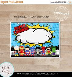 Superhero Thank you card Super hero note card by ClickParty Superhero Thank You Cards, Thank You Note Cards, Baby Superhero, Superhero Classroom, Superhero Cupcake Toppers, Mini Party, Bear Birthday, Birthday Party Decorations, Party Supplies
