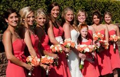 bouquets for coral wedding | The wedding bouquets were all coral and white. The bridesmaids carried ...