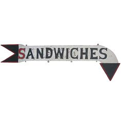 Circa 1940 double sided wood sign 'Sandwiches' in the unusual shape of a turned arrow, all in great age cracked red, black and white paint.