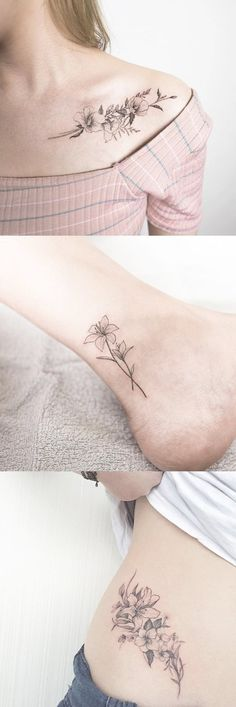 Zarte skizzierte Blume Schulter Tattoo Ideen – Wild Realistic Floral Ankle Tat … Delicate Sketched Flower Shoulder Tattoo Ideas Wild Realistic Floral Ankle Act Feather Tattoos, Foot Tattoos, Body Art Tattoos, Sleeve Tattoos, Temporary Tattoos, Small Flower Tattoos, Flower Tattoo Designs, Small Tattoos, Tattoo Flowers
