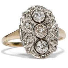 Liebe im jetzt - Feiner Trilogie-Ring aus Gold und Silber mit Diamanten, um 1920 von Hofer Antikschmuck aus Berlin // #hoferantikschmuck #antik #schmuck #Ringe #antique #jewellery #jewelry // www.hofer-antikschmuck.de
