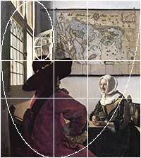 Vermeer exactly locates the placement of the open window with the faint reflection of a woman outside.