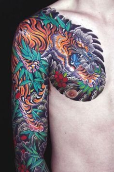 Japanese sleeve/ chest piece by Mike Rubendall