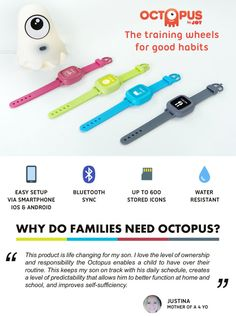 icon-based #watch that teaches #kids good #habits and the concept of #time https://www.indiegogo.com/projects/octopus-watch-the-training-wheels-for-good-habits-kids#/ by #DPCritic