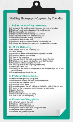 One of the worst things that could happen after you've had the best day of your entire life, is getting your wedding pictures back & wishing you had taken some specific shots. To ensure this doesn't happen it's a great idea to give your photographer a checklist of must have photos for you. Here is a checklist we've found that can give you an idea from BanquetEvent.com-Seattle's Wedding Guide