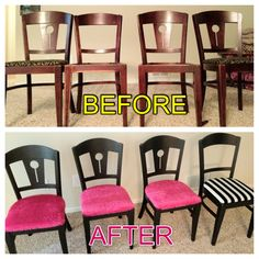 The original chairs were dark brown wood. I painted them all satin black & changed the cushions. The chairs with the pink shag cushions are for my kitchen table and the black and white striped chair is for my desk. This project took me 3 weeks off and on, give or take. I love them!