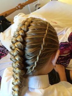 Waterfall twisted sides with dutch braid