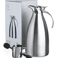 Stainless Steel Coffee Carafe - Insulated Thermal Carafe - 68 oz Thermos Pot for Coffee Tea or Hot Water - Insulated Double Walled Vacuum Dispenser with Free Bottle Brush & Milk Pitcher Piece Set] Modern Coffee Makers, Gevalia Coffee, Single Coffee Maker, Coffee Maker Reviews, Espresso Coffee Machine, Pour Over Coffee, Stainless Steel Mesh, Ceramic Mugs, Tea Pots