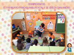 Cuento El papagayo Pancho habla fatal y se queda tan pancho, pertenece a una colección de terapicuentos.  http://blogdelosmaestrosdeaudicionylenguaje.blogspot.com.es/2014/05/terapicuentos-el-papagayo-pancho-habla.html