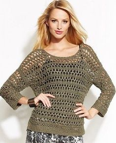 Inc International Concepts Petite Scoop-Neck Open-Knit Sweater Msrp $90