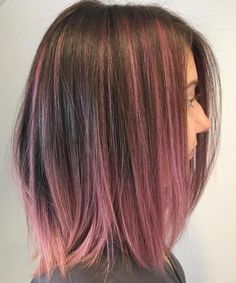 Brown Bob With Pink Balayage Ombre