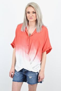 Super cute short sleeve button down top that has a twisted hem front and an ombre dip-dye pattern. Soft to the touch. Loose fit. Back hangs longer. Starts out dark then goes to white.