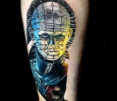 Pinhead from horror movies Hellraiser, 3 color relistic tattoo style done by tattoo artist Kegan Hawkins Tattoo Images, Tattoo Photos, Arm Tattoo, Sleeve Tattoos, Horror Movie Tattoos, World Tattoo, Tattoos Gallery, Horror Art, Tattoo Designs