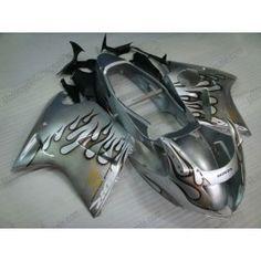 Honda CBR 1100XX BLACKBIRD 1996-2007 Injection ABS Fairing - Black Flame - Silver | $699.00