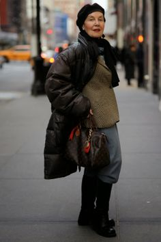 Chic winter outfit via ADVANCED STYLE