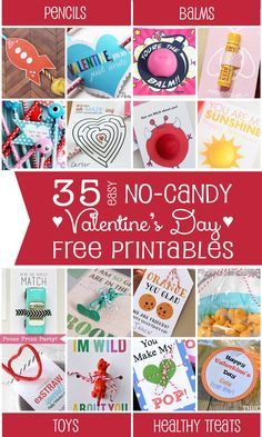 35 Easy No Candy Valentine's Day Free Printables - By Press Print Party! Pencil valentines, balm valentines, toy valentines, healthy treat valentines. for kids, crafts, ideas, cards, DIY, FREE